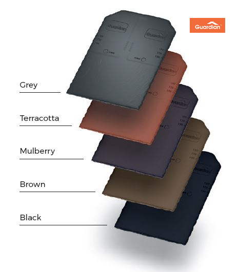 This stunning warm roof system is available in these vibrant colours